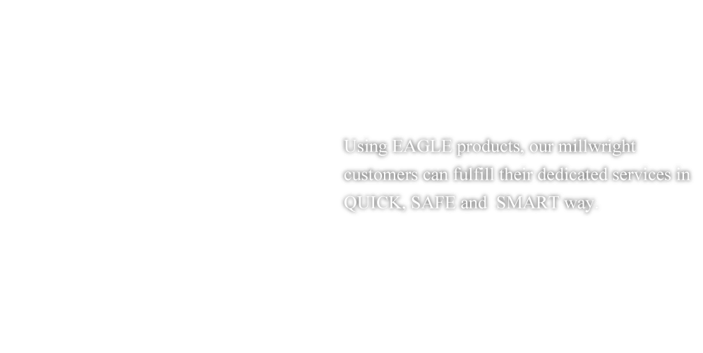Using EAGLE products, our millwright customers can fulfill their dedicated services in QUICK, SAFE and  SMART way.